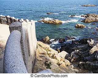 Beautiful rocky coast in Naksansa temple, South Korea