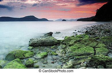 Beautiful rocky coastal sunset