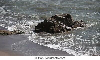 Beautiful rocky coastline El Matador beach California USA