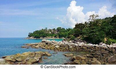 Beautiful, Rocky, Treelined Beach in Phuket, Thailand