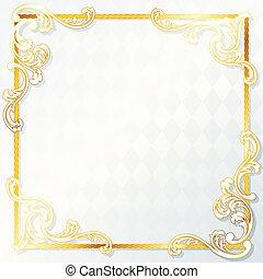 Beautiful rococo wedding frame - Elegant white and gold...