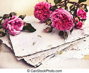 beautiful romantic background with pink roses, petals and...