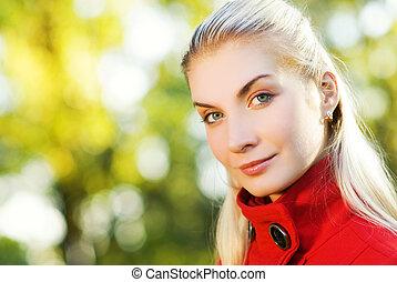 Beautiful romantic blond close-up portrait