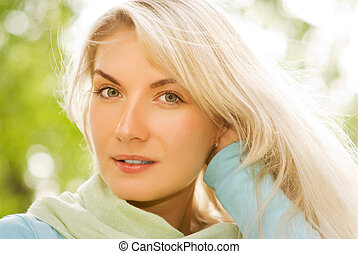 Beautiful romantic blonde close-up portrait