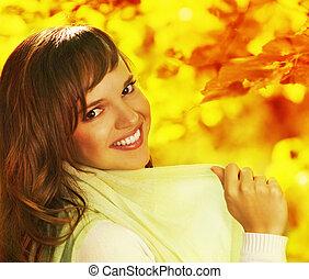 Beautiful romantic brunette close-up portrait