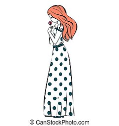 hand drawn illustration princess girl in polka dot dress vintage