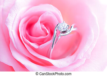 romantic Pink Rose with diamond wedding ring