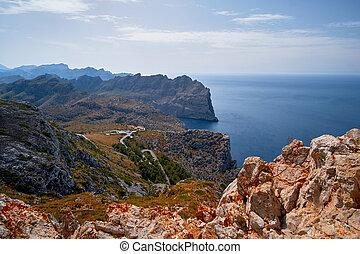 Beautiful romantic views of the sea and mountains. Cap de formentor - coast of Mallorca, Spain - Europe.