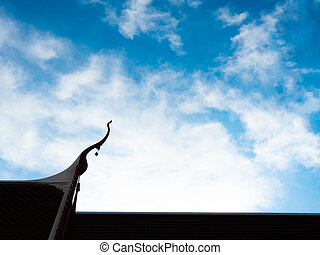 Beautiful Roof Temple of Heaven, Blue sky with cloud, Sun light