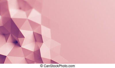 Beautiful Rose Polygonal Wall Waving in Looped Abstract 3d Animation. Seamless Background Concept
