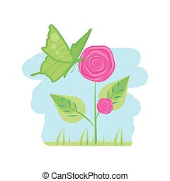 beautiful roses natural in branch with leafs and butterfly