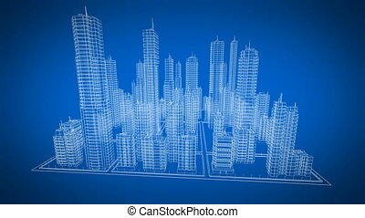 Beautiful Rotating Blueprint of Contemporary Buildings. Blue color. Construction and Technology Concept. Looped 3d animation.