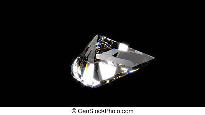 Beautiful rotating diamond with reflection over a black background able to loop