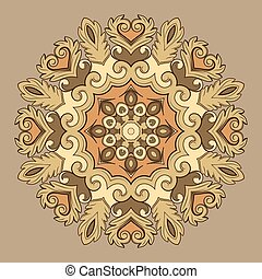 Beautiful round ornamental element for design in beige colors.