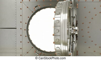 Beautiful Round Vault Door Opening Slow and Camera Flying Inside. 3d Animation of Safe Door with Alpha Mask. Security System of Business and Technology Concept. 4k Ultra HD 3840x2160