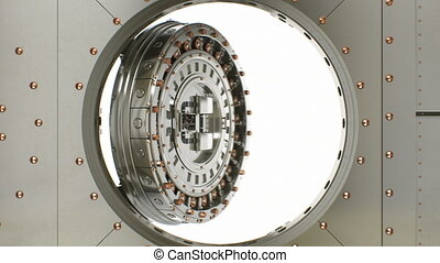 Beautiful Round Vault Steel Door Opening Slow and Camera...