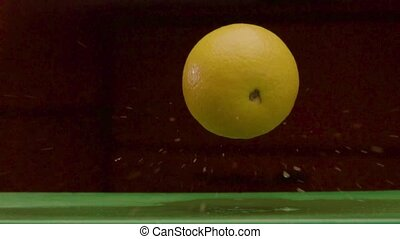 Round Yellow Lemon Falls On A Damp Green Surface - Beautiful...