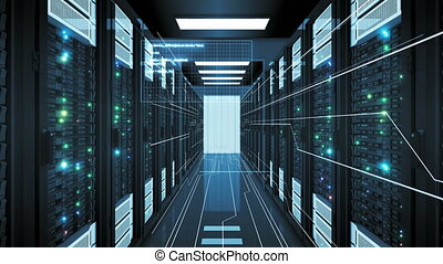 Beautiful Rows of Server Racks in Modern Datacenter Working with Graphics Elements. Looped 3d Animation of Busy Mainframes. Digital Media and Futuristic Technology Concept. 4k Ultra HD 3840x2160.