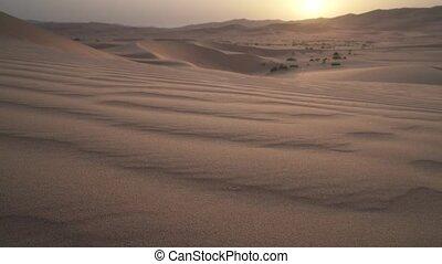 Beautiful Rub al Khali desert at sunrise stock footage video