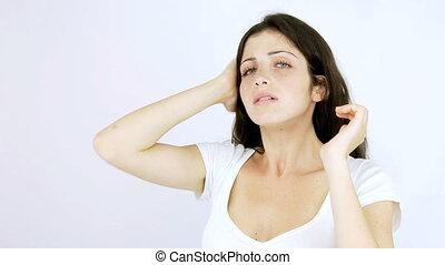 Beautiful ruined hair of woman