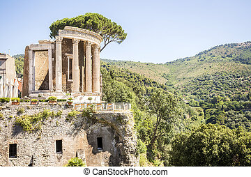 Beautiful ruins in park of Villa Gregoriana in Tivoli, Italy