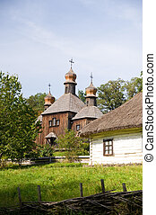 rural cottage and wooden church