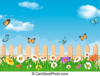 Beautiful spring rural landscape view. fence in grass with flowers and a butterfly. Vector illustration