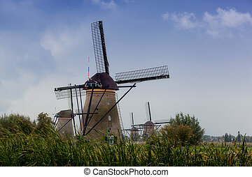 Beautiful rural landscape with windmills in Kinderdijk, Holland