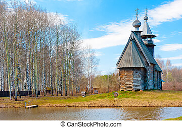 beautiful rural landscape with wooden church