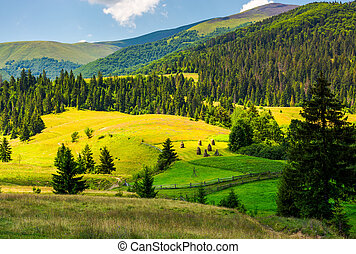 beautiful rural scenery in mountains. haystack on the grassy...