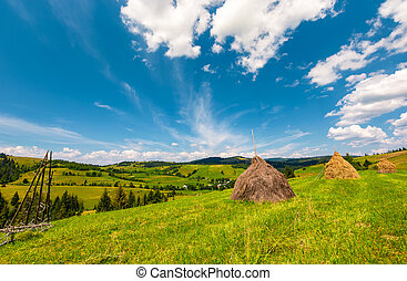 beautiful rural scenery in mountains. haystacks on a grassy...