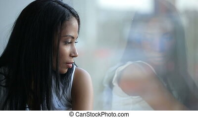 Beautiful Sad Woman Look at Window