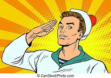 beautiful sailor salutes, the marine profession. Pop art...