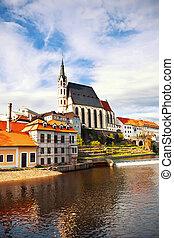Beautiful Saint Vitus cathedral in Cesky Krumlov, Czech Republic