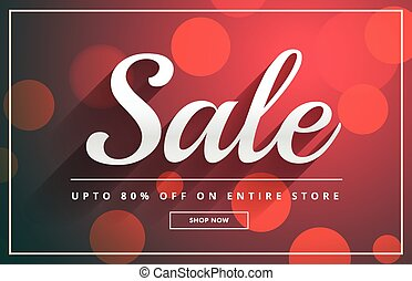 beautiful sale banner design template with bokeh background