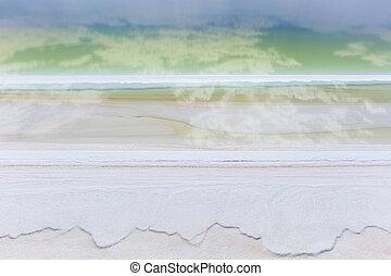 beautiful salt lake closeup - salt lake closeup, blue sky ...