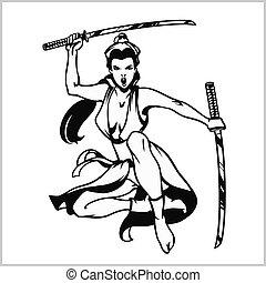 Beautiful samurai girl with katana - isolated on white....