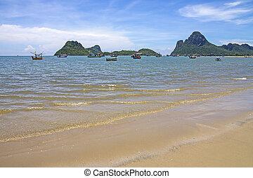 sand beach and thai fishing