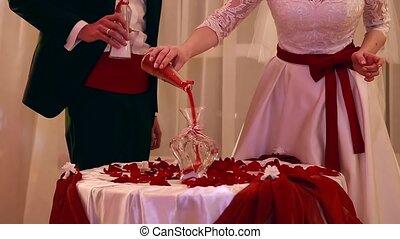 beautiful sand ceremony at the wedding Ukraine