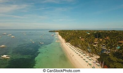 Beautiful sandy beach Philippines - aerial footage beautiful...
