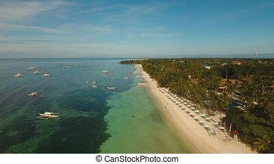 Beautiful sandy beach Philippines - aerial footage beautiful...