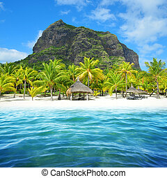 Beautiful sandy beach with Le Morne Brabant mountain on the south of Mauritius island.