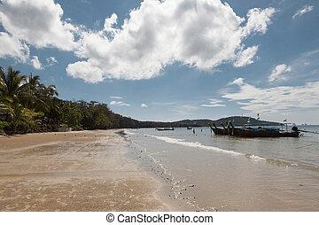 Beautiful sandy beach with palm trees and blue sky. Krabi Thailand.