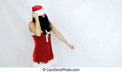 beautiful santa claus inviting to d - Happy female santa...