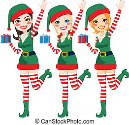 Beautiful Santa Elf Helpers - Three beautiful Santa Claus...