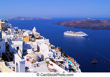 Panoramic view of the town of Fira, Santorini, Greece