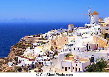 Beautiful Santorini - Picturesque view of the village of...