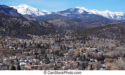Beautiful scene of Durango, Colorado from the top
