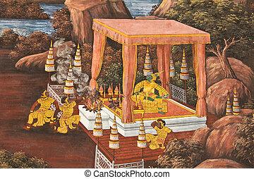 Beautiful Scene Painted on a Temple Wall at Grand Palace, Bangko