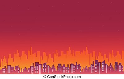 Beautiful scenery city silhouettes